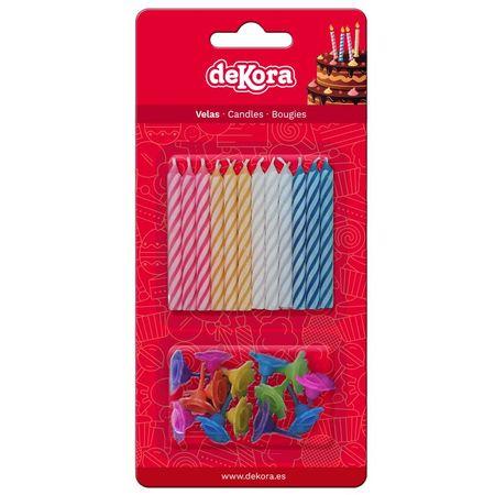 Dekora Dortové svíčky barevné se zápichem 12ks