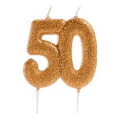 Dekora Dortová svíčka zlatá číslo 50