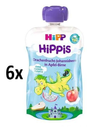 HiPP BIO Hippis Jablko - Hruška - Dračie ovocie - Čierne ríbezle 6 x 100g
