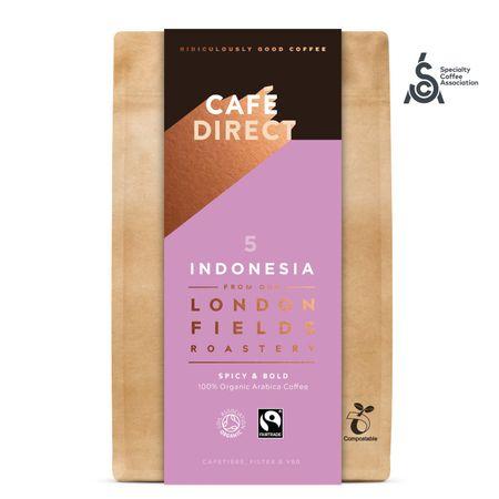 Cafédirect BIO mletá káva Indonesia SCA 83,5 s tónmi cédrového dreva a červeného ovocia 200 g