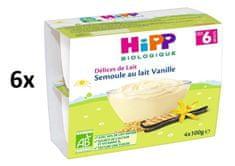 HiPP BIO Mliečny dezert krupicový s vanilkou Bourbon 6 x (4x100g)