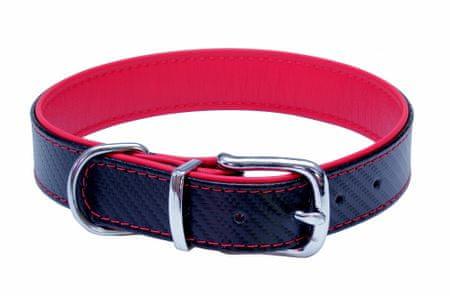 BAFPET Kožený obojek CARBON 66 cm červená