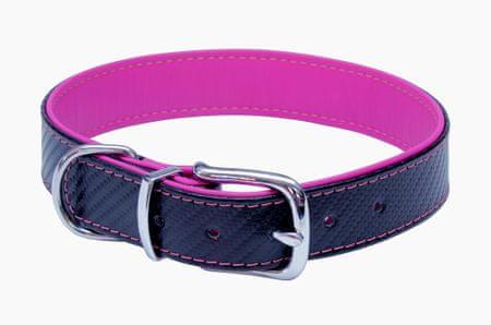 BAFPET Bőr nyakörv CARBON, 45 cm, rózsaszín