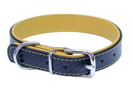 BAFPET Bőr nyakörv CARBON, 66 cm, sárga