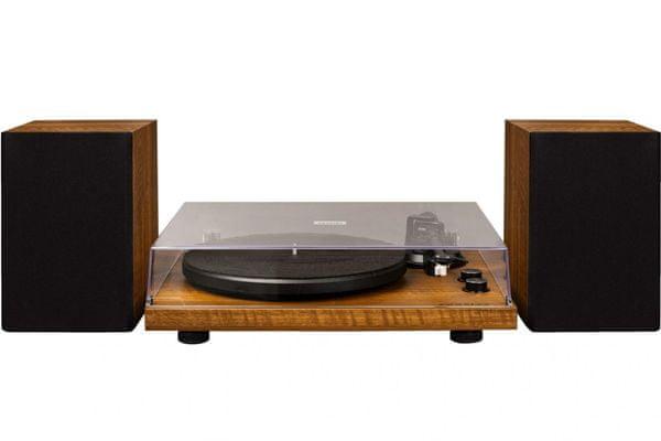 stylový klasický gramofon crosley c62 2 rychlosti otáček 33 45 bluetooth technologie streamování hudby ocelový talíř hliníkové raménko magnetická přenoska externí reproduktory