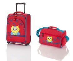 Travelite Youngster – dětská sada kufru a cestovní tašky Owl