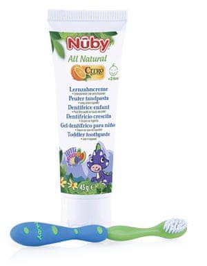 Nuby Zubná pasta pre deti All Natural 45g + zubná kefka 24m+ modrá