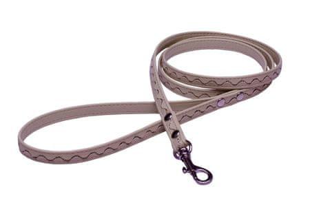 BAFPET povodec za psa, srebrni detajli , usnje, 1,2 m, bež