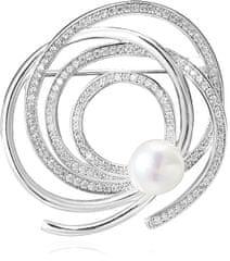 Beneto Stříbrná třpytivá brož s pravou perlou AGBR1 stříbro 925/1000