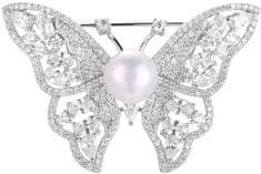 Beneto Stříbrná třpytivá brož s pravou perlou Motýl AGBR3 stříbro 925/1000