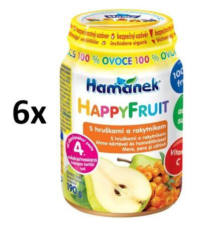 Hamánek HAPPYFRUIT 100% gyümölcs körtével és homoktövissel 6x190g