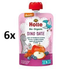 Holle Bio Dino Date 100% ovocné pyré jablko čučoriedka datle 6 x 100g