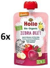 Holle Bio Zebra Beet 100% pyré jablko, banán, červená řepa 6 x 100g