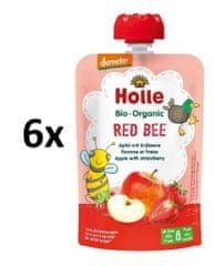 Holle Bio Red Bee 100% ovocné pyré jablko s jahodami - 6 x 100g