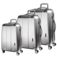 March Sada cestovních kufrů New Carat S + M + L, stříbrná