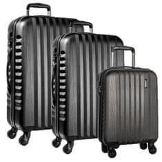 March Sada cestovních kufrů Ribbon S + M + L, černá