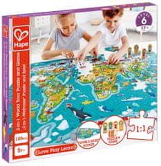Hape Detské puzzle - Mapa sveta 2 v 1