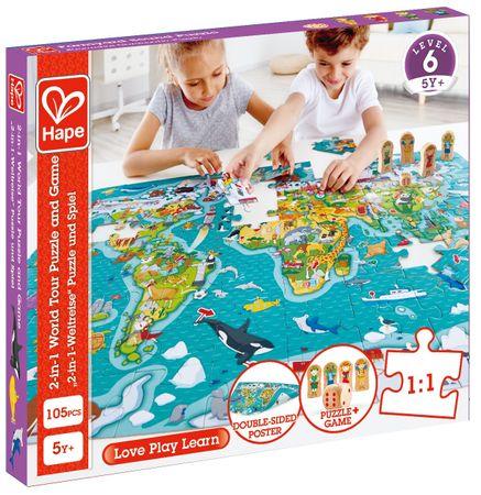 Hape otroške sestavljanke - zemljevid sveta 2 v 1