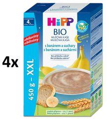 HiPP BIO Mléčná kaše na dobrou noc s banánem a suchary 4 × 450g