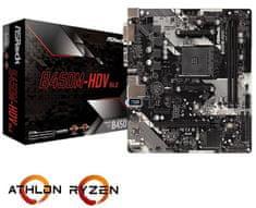 ASRock B450M-HDV R4.0, DDR4, USB 3.1 Gen1, AM4, Micro ATX osnovna plošča