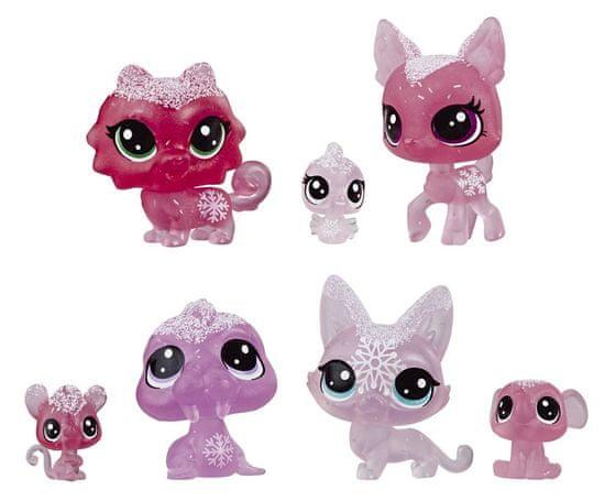 Littlest Pet Shop Zvířátka z ledového království 7ks růžová