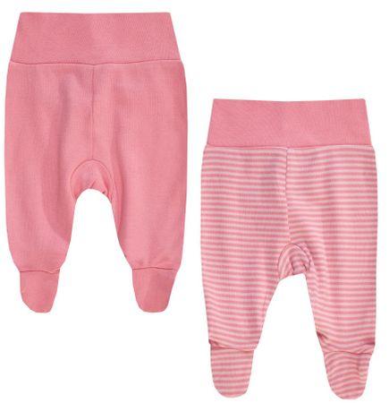 BOLEY 2 db lábfejes babanadrágból álló garnitúra lányoknak 50 - 56 rózsaszín