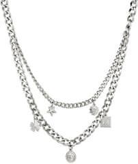 Liu Jo Dvojitý oceľový náhrdelník s príveskami LJ1299