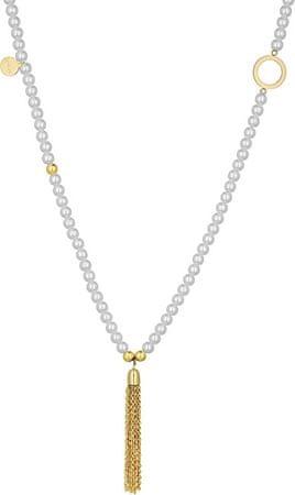 Liu Jo Pozlačena jeklena ogrlica LJ1201