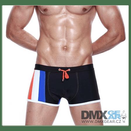 SEOBEAN Stripe Swim Boxer fekete-kék boxer fürdőnadrág