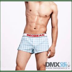 SEOBEAN kék-fehér kockás kényelmes rövidnadrág