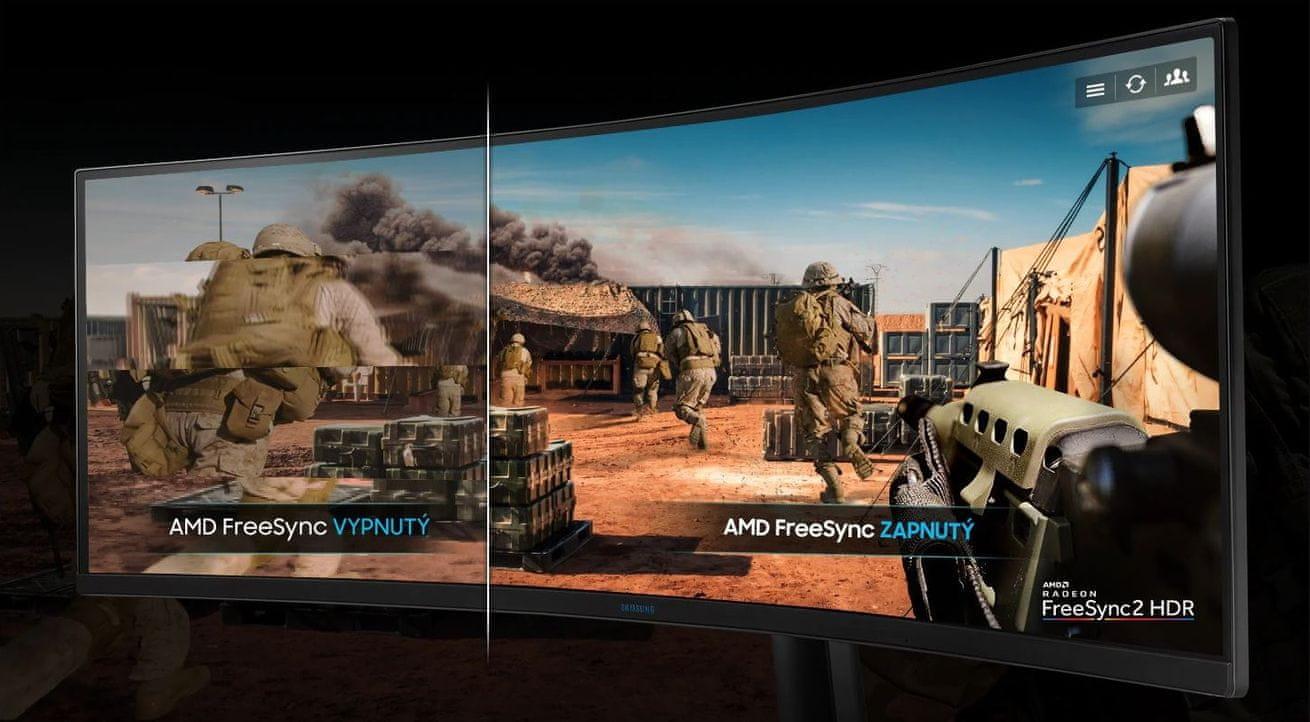 herní monitor Samsung C49RG90 (LC49RG90SSUXEN) snížení zpoždění a trhání obrazu Funkce AMD Radeon FreeSync 2
