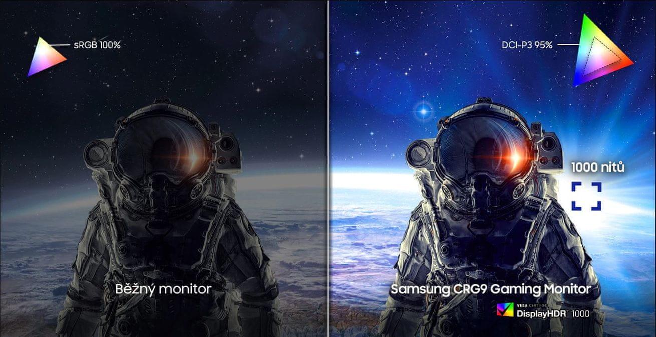 herní monitor Samsung C49RG90 (LC49RG90SSUXEN) HDR1000 QLED 1000 nitů realistické a jasné barvy