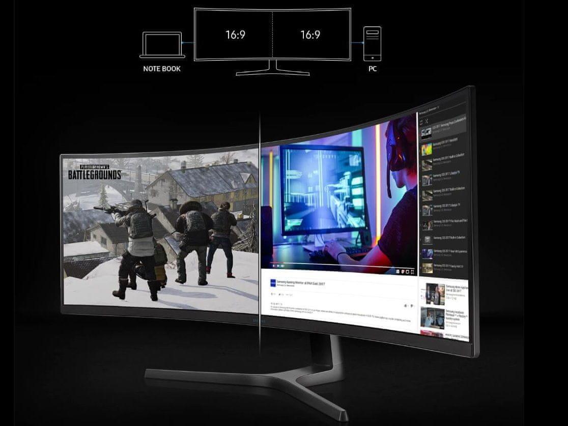 herní monitor Samsung C49RG90 (LC49RG90SSUXEN) připojení dvou počítačů najednou