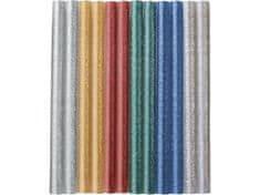 Extol Craft Tyčinky tavné farebné ligotavé 12ks, Z/M/SvM/Če/Zlt/Str, pr.7,2mm, dĺžka 100mm