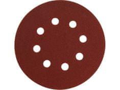Extol Premium Papier brúsny výsek, suchý zips, bal. 10ks, 8 otvorov, pr.125mm, P240