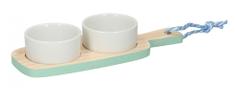 TimeLife taca na przekąski, drewno/porcelana 24x9cm, niebieska