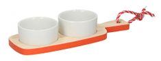 TimeLife taca na przekąski, drewno/porcelana 24x9cm, czerwona
