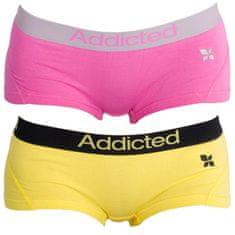 Addicted 2PACK dámské kalhotky růžová žlutá