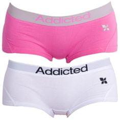 Addicted 2PACK dámské kalhotky růžová bílá
