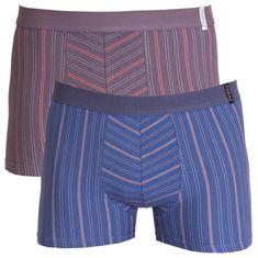 Molvy 2PACK pánské boxerky modro šedé s proužkami