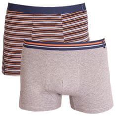 Molvy 2PACK Pánské boxerky šedé s proužky