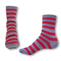Styx Ponožky crazy červeno šedé proužky (H324)