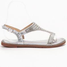 SUPER MODE Stylové stříbrné sandály