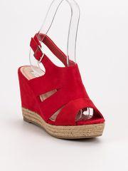 BEST SHOES Červené sandály espadrilky