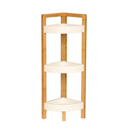 Rohový regál, biela/prírodný bambus, FONG