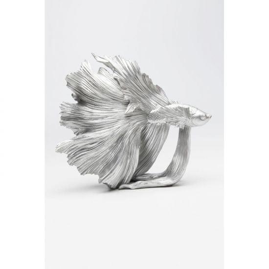 KARE Soška Ryba Bojovnice pestrá Stříbrná 37cm