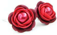 Troli Czerwono-bordowy wisiorkiKolczyki z perłowymi kwiatami