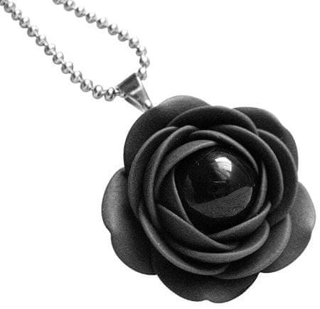 Troli Czarny naszyjnik z czarnymi perłowymi kwiatami