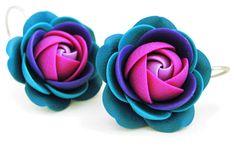 Troli Nafta purpurowa wisiorkiKolczyki kwiaty
