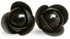 Troli Czarny nabijany ćwiekami Kolczyki z czarnymi perłowymi kwiatami